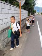 集団登校する小学生の列